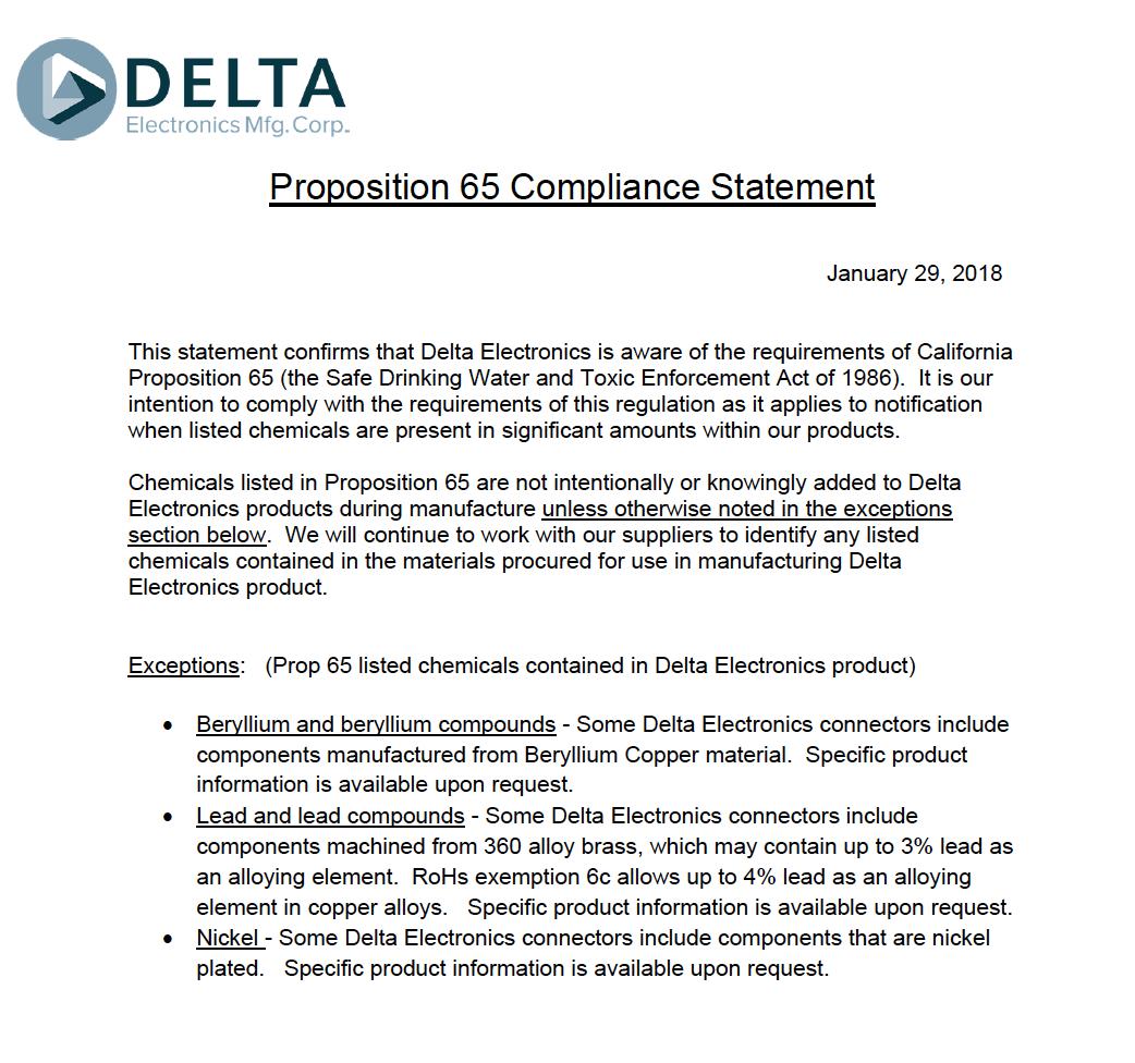 Certificates   Delta Electronics